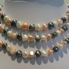 "47"""" super lustrous white-pink-blak FW pearl necklace"