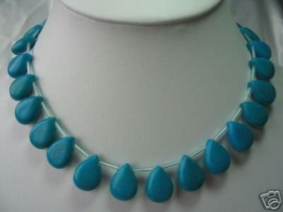 "16"""" charming turquoise melon seeds beads necklace"