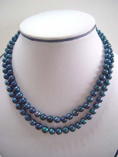 "17-18"""" 7-8mm blue color pearl necklace"
