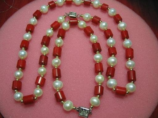 "exquisite 17.5"""" coral pearl necklace set"