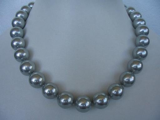 "18"""" 14mm gray seashell pearl necklace"