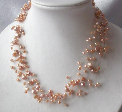"17"""" beauty genuine pink F/W pearl necklace"