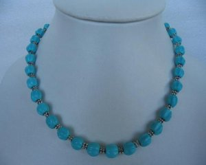"""17.5"""""""" 8mm natural turquoise carved ball necklace"""