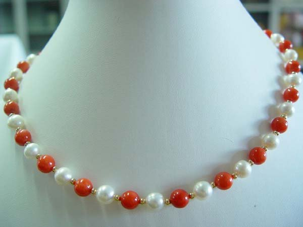 "graceful 17.5"""" coral pearl necklace"