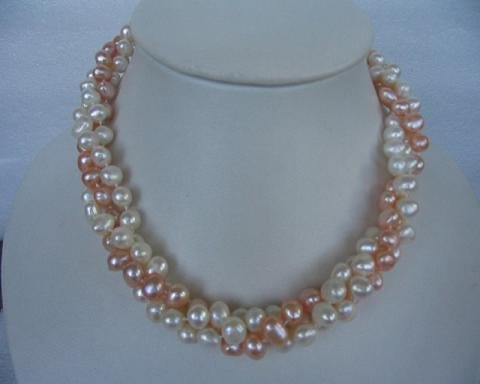 "17"""" 8-9mm 3 strands polychrome F/W pearl necklace"