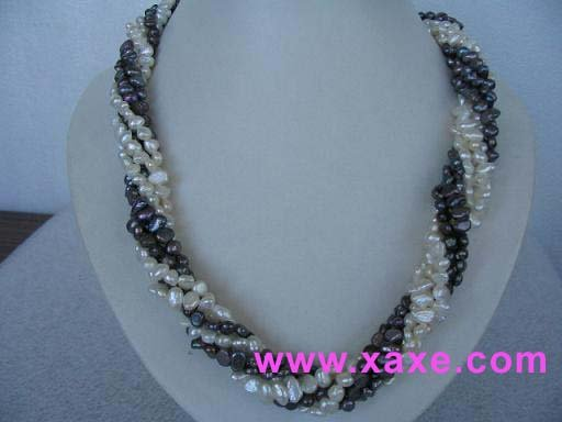 "exquisite 18"""" 5 strands multicolor pearl necklace"