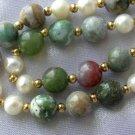"17"""" multicolor jade & white pearl necklace"