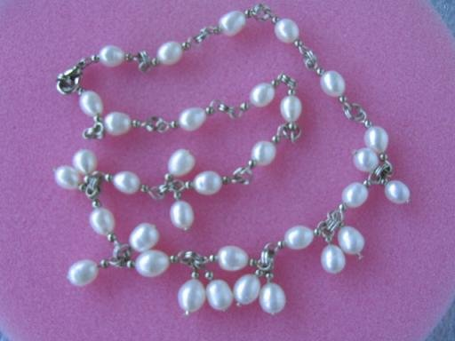 "17.5""""6*7mm white rice F/W pearl necklace"