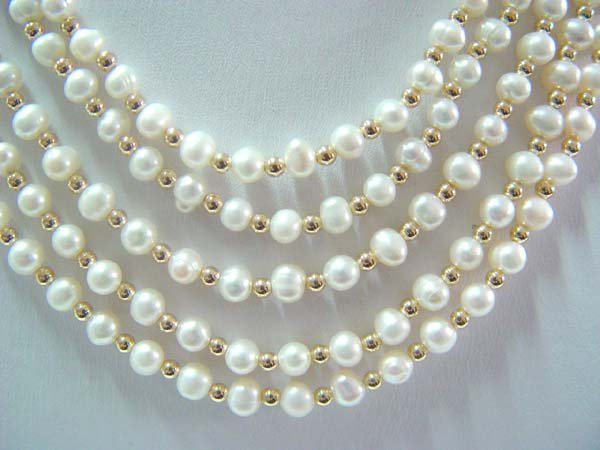 "17""""-21"""" five rows white pearl necklace"