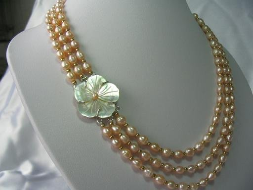 18''-20'' charming 6*7mm pink pearls shell clasp necklace