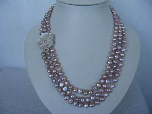 "20""""-22"""" lustrous 3rows purple pearl shell clasp necklace"