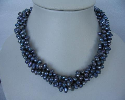 "17"""" 6*7mm 3 strands blue color F/W pearl necklace"