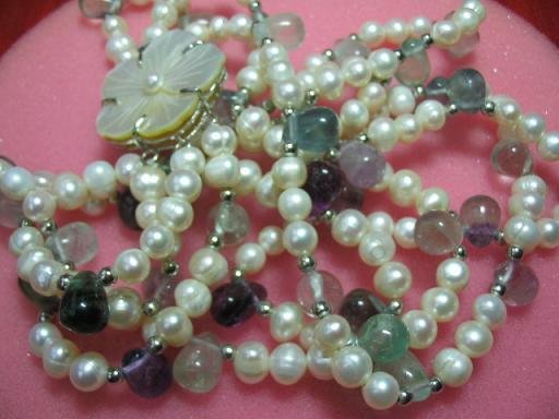 "18"""" three strands white pearl/fluorite necklace"