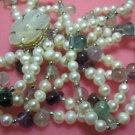"18"""" three strands white pearl/fluorite necklace"