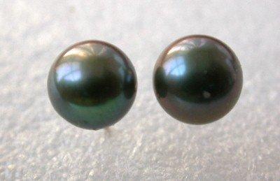 14kgp stud 12mm black shell pearl earring