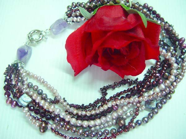 lovely 18-20'' 4-8mm colored pearl, garnet bead, crystal bead ne