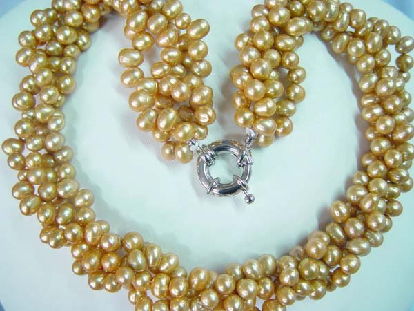 4-row 18'' 5x6mm yellow pearl necklace