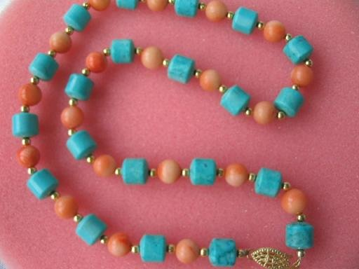 "17"""" pink coral turquoise column necklace"