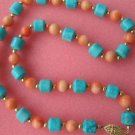 """17"""""""" pink coral turquoise column necklace"""