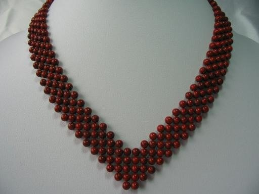 17-18'' 4mm red coral beads knit to heart shape necklace