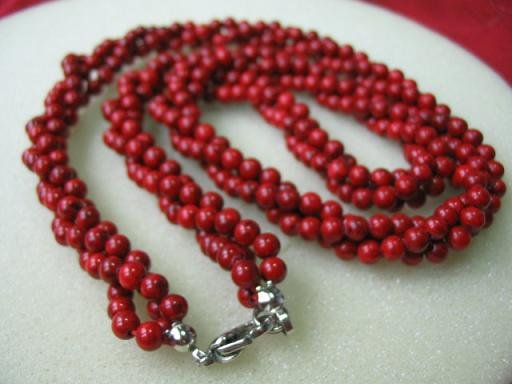"17.5"""" 3-strands red coral beads necklace"