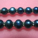 "17.5"""" 7-8mm blue pearl/metal septa necklace"