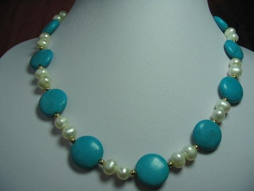 "17.5"""" exquisite pearl/turquoise necklace"