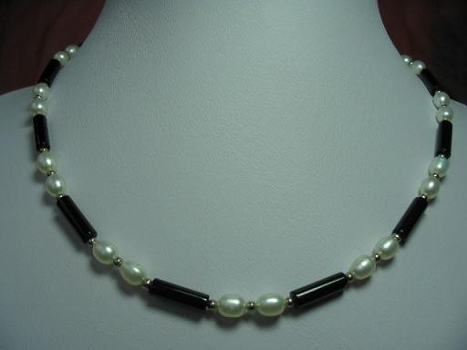 "17.5"""" exquisite white pearl/agate tube necklace"