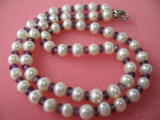 "17.5"""" exquisite white pearl/amethyst necklace"