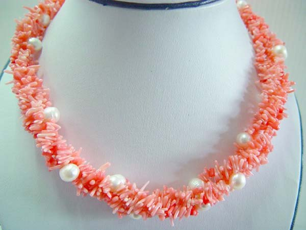 "17.5"""" pink coral branch with white pearl beads necklace"