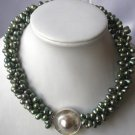 "17.5""""3-rows dark green pearl/mabe clasp necklace"