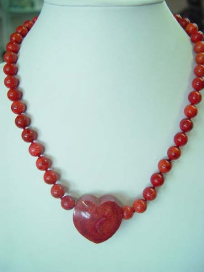 17.5'' 12mm red sponge coral necklace + heart pendant