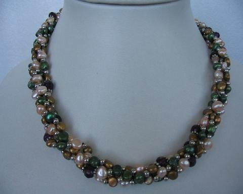 "18"""" 4 strands multicolor pearl / gild beads necklace"