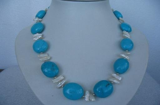 "18"""" exquisite biwa pearl/turquoise necklace"