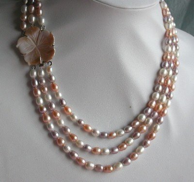 """18""""""""-20"""""""" 3-stands Grade AA multicolor pearl&shell clasp"""