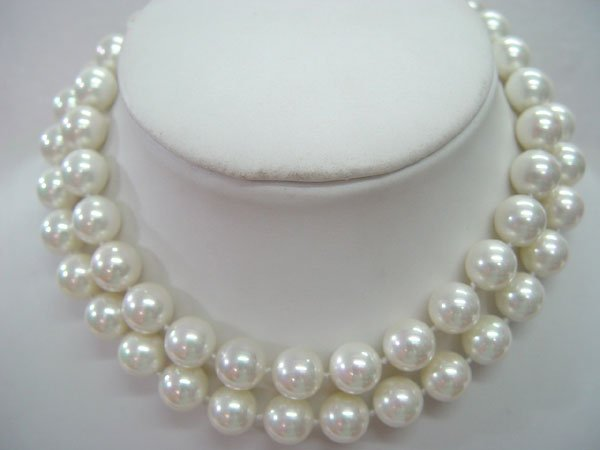 "32"""" 12mm white Seashell pearl necklace"