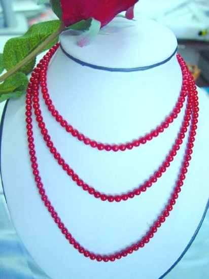 "48"""" super long 5mm red coral opera necklace"