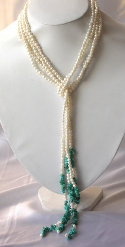 "48""""natural mini pearl with turquoise necklace"