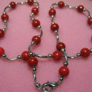 "exquisite 17"""" red coral/wire necklace"