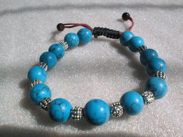 stunning blue turquoise 4mm stone bracelet