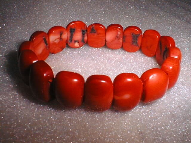 stunning red coral beads bracelet
