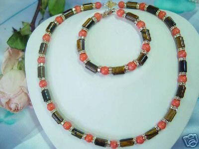 coral bead & tiger eye stone tube necklace/bracelet set
