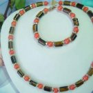 coral bead & tiger eye stone tube necklace/bracelet set