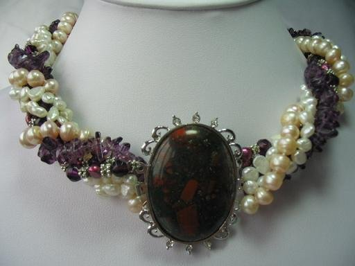 "18-20"""" 6-strand multicolor pearl with agate pendant"