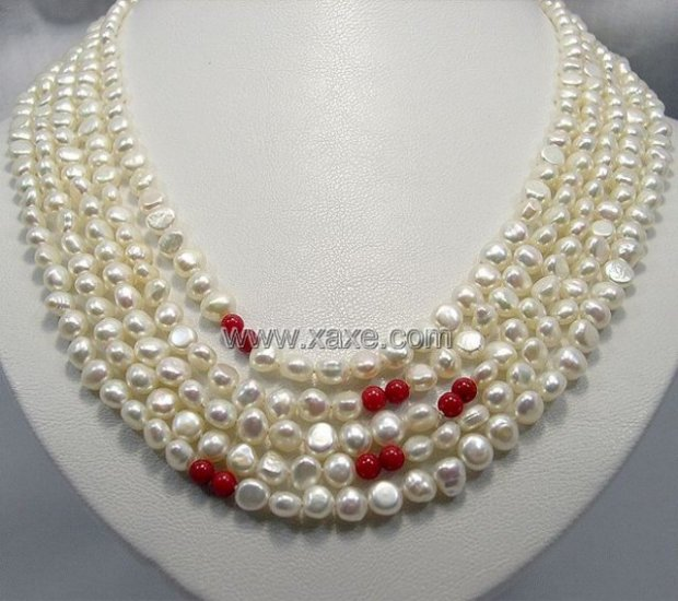 106 High Luster Cultured Pearl Red Coral Necklace