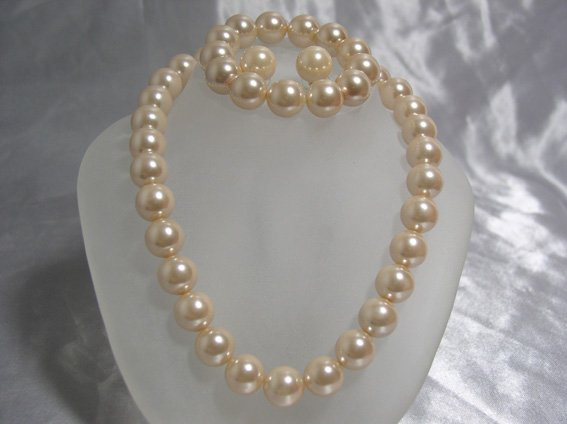 14mm pink seashell Pearl necklace bracelet & earring