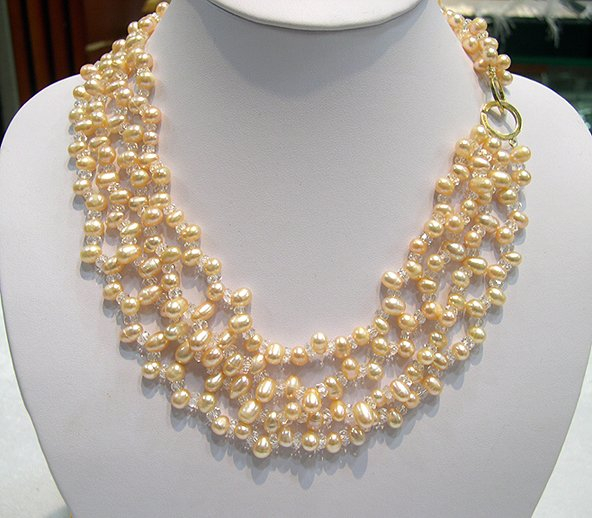16''-18'' 4rows pink Cultured Pearl&Crystal Necklace