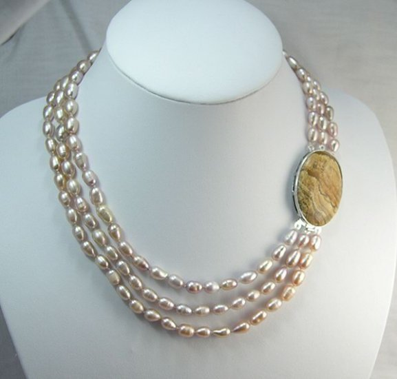 16''-19'' 3rows pink Cultured Pearl Necklace gem clasp