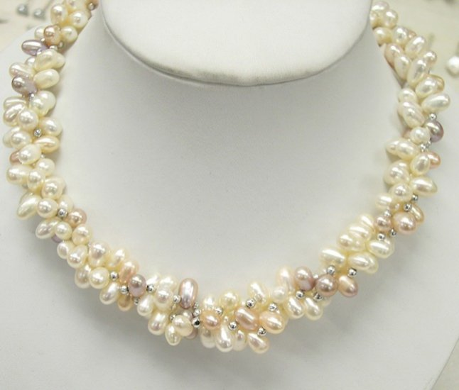 17'' 3rows Multi-color Genuine Cultured Pearl Necklace