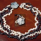 17'' 4ROWS white black cultured pearl Necklace shell